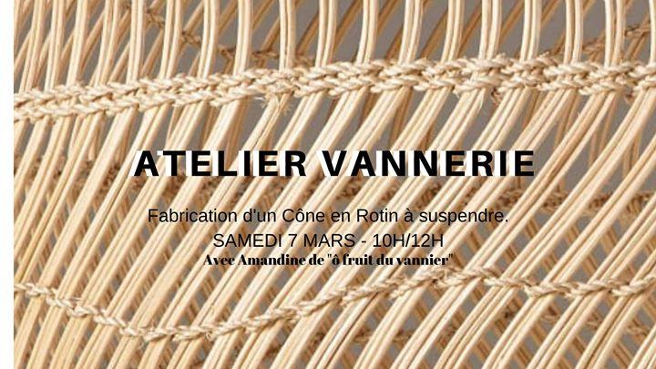 Atelier vannerie : Fabrication d'un Cône en Rotin à suspendre.